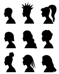 fashion girls silhouettes with 9 different hairstyle for your design