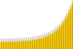 Graph made from 40 yellow pencils showing exponential growth with space for copy