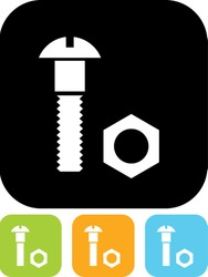 Bolt and nut - Vector icon isolated