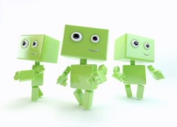 Three robotic toys walking in different ways/Nice robot walk