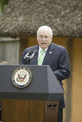 Vice President Dick Cheney speaking during ceremony at James Fort, Jamestown Settlement, Virginia on May 4, 2007, the 400th Anniversary of English establishment of 1607 Jamestown Colony, Virginia