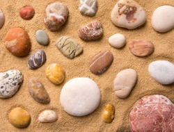 Close-up of sea pebbles on the beach