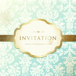 Invitation to the wedding or announcements. Ornate damask background