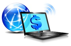Banking online Pay by internet with money symbols for the Dollar - Raster Version