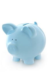 Gorgeous blue piggy bank, isolated on white with soft shadow.