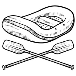Doodle style illustration of whitewater rafting with raft and crossed paddles in vector illustration.