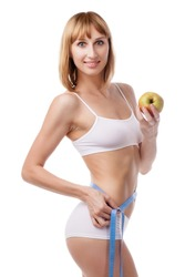 sporty woman and measure around her body on white background. Healthy lifestyles concept
