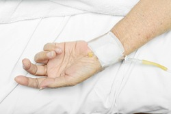 Image of Patient hand with an intravenous drip.