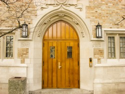Arched Doorway on the Campus of Notre Dame University in South Bend, Indiana