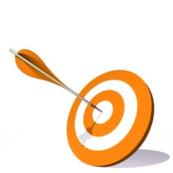 Concept or conceptual orange dart target board with an arrow in the center isolated on white background, for success, competition, business, game, achievement, win, perfection, strategy or focus
