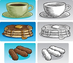 Old fashioned etched style illustration of various breakfast foods. Includes coffee, a stack of pancakes with maple syrup, and sausage links. In color and black and white.