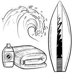 Doodle style surfing gear sketch in vector format. Set includes surfboard, suntan lotion and towel, and cresting wave.