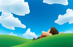 Realistic cartoon illustration of a man lying on his back on a grassy hill, watching the clouds.
