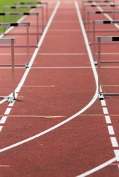 hurdles on race track