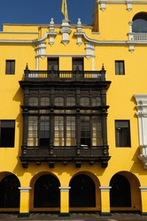Lima - capital of Peru. Cityscape - Plaza de Armas - main squer in town - architecture detail. The picture presents building on the Plaza de Armas