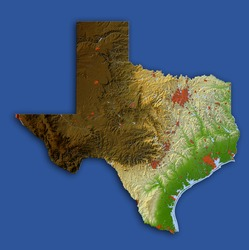 Texas. Shaded relief map.  Shows surrounding ocean, major urban areas and rivers, embossed on blue background.  Colored according to relative terrain height. Clipping path included.