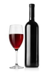 Bottle of red wine and wineglass isolated on a white background.
