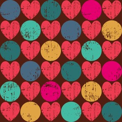 Seamless retro pattern. Texture with threadbare hearts. Vector version.