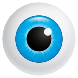 Vector illustration (EPS 10,includes transparency and mesh) Blue eyeball looking at spectator