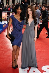 "Tiana Benjamin and Lily James arriving for the ""Fast Girls"" premiere at the Odeon West End, Leicester Square, London. 07/06/2012 Picture by: Steve Vas / Featureflash"