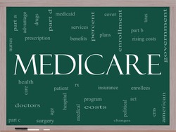 Medicare Word Cloud Concept on a Blackboard with great terms such as health, care, hospital, tax, enrollment, part d and more