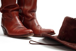 Cowboy boots and hat, isolated