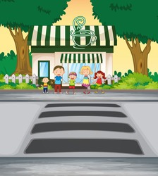 illustration family crossing road near coffee shop