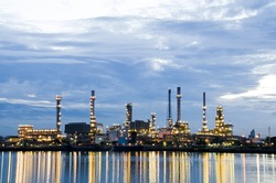 Oil refinery plant in the dawn, Chao Phraya river, Thailand