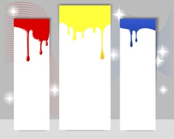 Three vertical banners with dripping paint on a gray background. EPS10. Vector illustration.