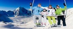 Skiing, ski lift, winter - skiers on ski holiday