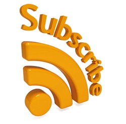 "Rss web icon with text ""Subscribe"""
