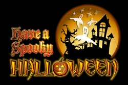 Have a Spooky Halloween Pumpkin Graphic with Scary Tree and Ghosts Flying in front of haunted house.