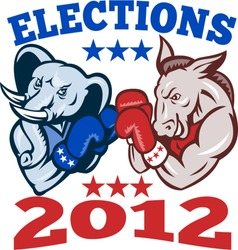 Illustration of a democrat donkey mascot of the democratic and republican elephant boxer boxing with gloves set inside circle done in retro style with words elections 2012