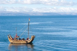 This image shows a reed boat off  Isla del Sol, Bolivia