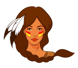 illustration of a beautiful American Indian woman with braided hair and feather
