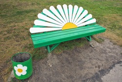 Park bench in the form of chamomile