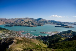 View of Lyttelton port from Mount Pleasant. new Zealand, South Island.