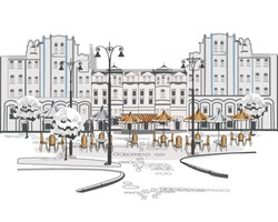 Series of sketches of beautiful old city views with cafes