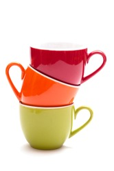 Coloured stacked mugs for espresso coffee