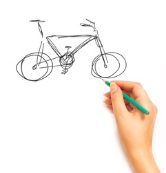 Woman's Hand draws a bicycle isolated on white background