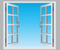 The open casement windows, the blue sky. Vector illustration.