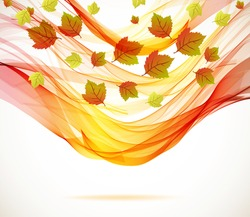 Abstract autumn background with wave, illustration for your design