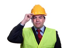 man with construction hat portrait on white background