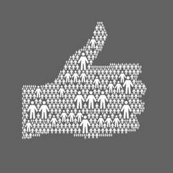 Vector background with the hand of thumbs up symbol, which is composed of people icons. Abstract dark illustration with white silhouettes of person, sign like. Social media concept for web template
