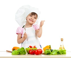 Chef girl preparing healthy food and showing thumb up over white background
