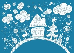 Christmas hand drawn background with place for text, cute illustration, vector