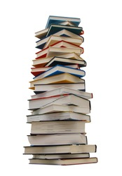 The heavy pile of books isolated white background
