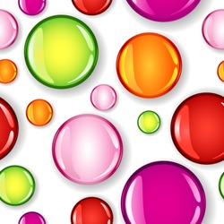 EPS 10: Fun seamless pattern made of different size glossy circles or bubbles in pale and dark pink, red, lime green and orange, all with shadows over white background.