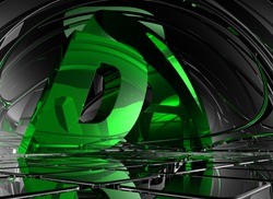 letter d in abstract futuristic space - 3d illustration