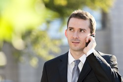 Businessman talking on the cell phone
